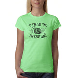 "If I'm sitting I'm knitting Black Womens T Shirt-T Shirts-Gildan-Mint Green-S UK 10 Euro 34 Bust 32""-Daataadirect"