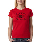 "If I'm sitting I'm knitting Black Womens T Shirt-T Shirts-Gildan-Red-S UK 10 Euro 34 Bust 32""-Daataadirect"