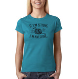 "If I'm sitting I'm knitting Black Womens T Shirt-T Shirts-Gildan-Sapphire-S UK 10 Euro 34 Bust 32""-Daataadirect"