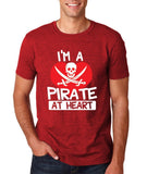 "I'm a Pirate At Heart Men T Shirt White & Red-T Shirts-Gildan-Antique Cherry-S To Fit Chest 36-38"" (91-96cm)-Daataadirect"
