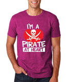 "I'm a Pirate At Heart Men T Shirt White & Red-T Shirts-Gildan-Antique Heliconia-S To Fit Chest 36-38"" (91-96cm)-Daataadirect"