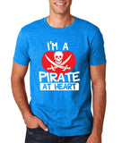 "I'm a Pirate At Heart Men T Shirt White & Red-T Shirts-Gildan-Antique Sapphire-S To Fit Chest 36-38"" (91-96cm)-Daataadirect"