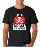 "I'm a Pirate At Heart Men T Shirt White & Red-T Shirts-Gildan-Black-S To Fit Chest 36-38"" (91-96cm)-Daataadirect"