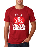 "I'm a Pirate At Heart Men T Shirt White & Red-T Shirts-Gildan-Cardinal-S To Fit Chest 36-38"" (91-96cm)-Daataadirect"