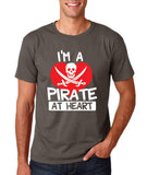 "I'm a Pirate At Heart Men T Shirt White & Red-T Shirts-Gildan-Charcoal-S To Fit Chest 36-38"" (91-96cm)-Daataadirect"