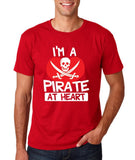 "I'm a Pirate At Heart Men T Shirt White & Red-T Shirts-Gildan-Cherry Red-S To Fit Chest 36-38"" (91-96cm)-Daataadirect"