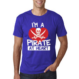 "I'm a Pirate At Heart Men T Shirt White & Red-T Shirts-Gildan-Cobalt-S To Fit Chest 36-38"" (91-96cm)-Daataadirect"