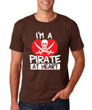 "I'm a Pirate At Heart Men T Shirt White & Red-T Shirts-Gildan-Dk Chocolate-S To Fit Chest 36-38"" (91-96cm)-Daataadirect"