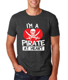 "I'm a Pirate At Heart Men T Shirt White & Red-T Shirts-Gildan-Dk Heather-S To Fit Chest 36-38"" (91-96cm)-Daataadirect"