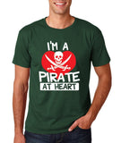 "I'm a Pirate At Heart Men T Shirt White & Red-T Shirts-Gildan-Forest Green-S To Fit Chest 36-38"" (91-96cm)-Daataadirect"