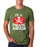 "I'm a Pirate At Heart Men T Shirt White & Red-T Shirts-Gildan-Heather Irish Green-S To Fit Chest 36-38"" (91-96cm)-Daataadirect"