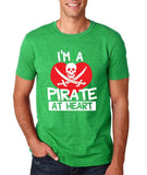 "I'm a Pirate At Heart Men T Shirt White & Red-T Shirts-Gildan-Heather Military Green-S To Fit Chest 36-38"" (91-96cm)-Daataadirect"
