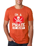"I'm a Pirate At Heart Men T Shirt White & Red-T Shirts-Gildan-Heather Orange-S To Fit Chest 36-38"" (91-96cm)-Daataadirect"