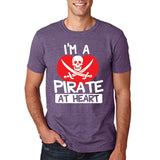 "I'm a Pirate At Heart Men T Shirt White & Red-T Shirts-Gildan-Heather Purple-S To Fit Chest 36-38"" (91-96cm)-Daataadirect"