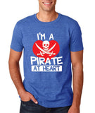 "I'm a Pirate At Heart Men T Shirt White & Red-T Shirts-Gildan-Heather Royal-S To Fit Chest 36-38"" (91-96cm)-Daataadirect"