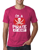 "I'm a Pirate At Heart Men T Shirt White & Red-T Shirts-Gildan-Heliconia-S To Fit Chest 36-38"" (91-96cm)-Daataadirect"