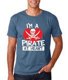 "I'm a Pirate At Heart Men T Shirt White & Red-T Shirts-Gildan-Indigo Blue-S To Fit Chest 36-38"" (91-96cm)-Daataadirect"