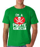 "I'm a Pirate At Heart Men T Shirt White & Red-T Shirts-Gildan-Irish Green-S To Fit Chest 36-38"" (91-96cm)-Daataadirect"