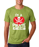 "I'm a Pirate At Heart Men T Shirt White & Red-T Shirts-Gildan-Kiwi-S To Fit Chest 36-38"" (91-96cm)-Daataadirect"