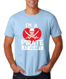 "I'm a Pirate At Heart Men T Shirt White & Red-T Shirts-Gildan-Light Blue-S To Fit Chest 36-38"" (91-96cm)-Daataadirect"