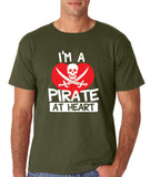"I'm a Pirate At Heart Men T Shirt White & Red-T Shirts-Gildan-Military Green-S To Fit Chest 36-38"" (91-96cm)-Daataadirect"