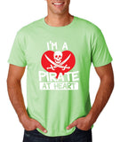 "I'm a Pirate At Heart Men T Shirt White & Red-T Shirts-Gildan-Mint Green-S To Fit Chest 36-38"" (91-96cm)-Daataadirect"