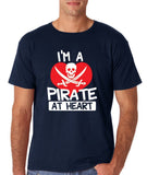 "I'm a Pirate At Heart Men T Shirt White & Red-T Shirts-Gildan-Navy-S To Fit Chest 36-38"" (91-96cm)-Daataadirect"