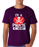 "I'm a Pirate At Heart Men T Shirt White & Red-T Shirts-Gildan-Purple-S To Fit Chest 36-38"" (91-96cm)-Daataadirect"