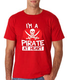 "I'm a Pirate At Heart Men T Shirt White & Red-T Shirts-Gildan-Red-S To Fit Chest 36-38"" (91-96cm)-Daataadirect"