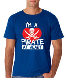 "I'm a Pirate At Heart Men T Shirt White & Red-T Shirts-Gildan-Royal-S To Fit Chest 36-38"" (91-96cm)-Daataadirect"