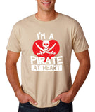 "I'm a Pirate At Heart Men T Shirt White & Red-T Shirts-Gildan-Sand-S To Fit Chest 36-38"" (91-96cm)-Daataadirect"