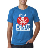 "I'm a Pirate At Heart Men T Shirt White & Red-T Shirts-Gildan-Sapphire-S To Fit Chest 36-38"" (91-96cm)-Daataadirect"