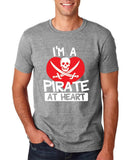 "I'm a Pirate At Heart Men T Shirt White & Red-T Shirts-Gildan-Sport Grey-S To Fit Chest 36-38"" (91-96cm)-Daataadirect"