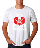 "I'm a Pirate At Heart Men T Shirt White & Red-T Shirts-Gildan-White-S To Fit Chest 36-38"" (91-96cm)-Daataadirect"