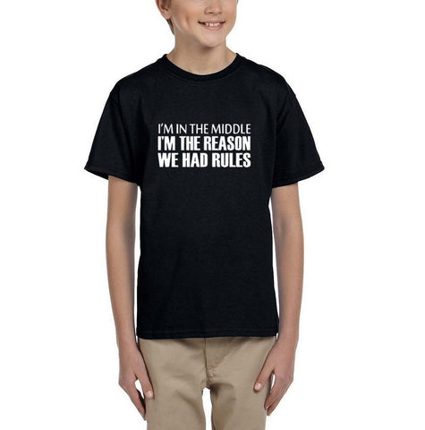 I'm in the middle I'm Kids T SHirts White-T Shirts-Gildan-Black-YXS (3-5 Year)-Daataadirect