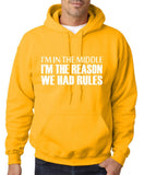 "I'm In The Middle I'm The Reason We Had Rules Men Hoodies White-Hoodies-Gildan-Gold-S To Fit Chest 36-38"" (91-96cm)-Daataadirect"