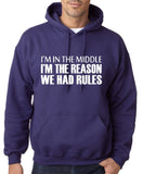 "I'm In The Middle I'm The Reason We Had Rules Men Hoodies White-Hoodies-Gildan-Purple-S To Fit Chest 36-38"" (91-96cm)-Daataadirect"