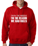 "I'm In The Middle I'm The Reason We Had Rules Men Hoodies White-Hoodies-Gildan-Red-S To Fit Chest 36-38"" (91-96cm)-Daataadirect"