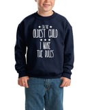 I'm Oldest Child Make Rules Kids SweatShirt White-SweatShirts-Gildan-Navy Blue-YXS (3-5 Year)-Daataadirect