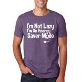 "I'm On Energy Saver Mode Men T Shirt White-T Shirts-Gildan-Heather Purple-S To Fit Chest 36-38"" (91-96cm)-Daataadirect"