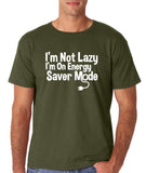 "I'm On Energy Saver Mode Men T Shirt White-T Shirts-Gildan-Military Green-S To Fit Chest 36-38"" (91-96cm)-Daataadirect"