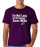 "I'm On Energy Saver Mode Men T Shirt White-T Shirts-Gildan-Purple-S To Fit Chest 36-38"" (91-96cm)-Daataadirect"