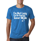 "I'm On Energy Saver Mode Men T Shirt White-T Shirts-Gildan-Sapphire-S To Fit Chest 36-38"" (91-96cm)-Daataadirect"