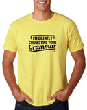 "I'm silently correcting your grammar Black mens T Shirt-T Shirts-Gildan-Corn Silk-S To Fit Chest 36-38"" (91-96cm)-Daataadirect"