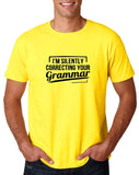 "I'm silently correcting your grammar Black mens T Shirt-T Shirts-Gildan-Daisy-S To Fit Chest 36-38"" (91-96cm)-Daataadirect"