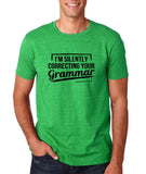 "I'm silently correcting your grammar Black mens T Shirt-T Shirts-Gildan-Heather Irish Green-S To Fit Chest 36-38"" (91-96cm)-Daataadirect"