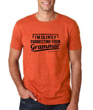 "I'm silently correcting your grammar Black mens T Shirt-T Shirts-Gildan-Heather Orange-S To Fit Chest 36-38"" (91-96cm)-Daataadirect"