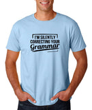 "I'm silently correcting your grammar Black mens T Shirt-T Shirts-Gildan-Light Blue-S To Fit Chest 36-38"" (91-96cm)-Daataadirect"
