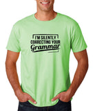 "I'm silently correcting your grammar Black mens T Shirt-T Shirts-Gildan-Mint Green-S To Fit Chest 36-38"" (91-96cm)-Daataadirect"