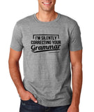 "I'm silently correcting your grammar Black mens T Shirt-T Shirts-Gildan-Sport Grey-S To Fit Chest 36-38"" (91-96cm)-Daataadirect"